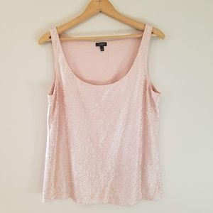 Talbots Pink Peach Holiday Sequin Tank Top Lined